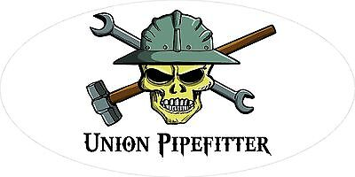 3 - Union Pipefitter Skull Oilfield Roughneck Hard Hat Helmet Sticker H331