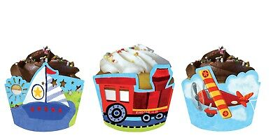 Airplane Train Truck Boat Cupcake Wrappers Birthday Party Decoration Supply