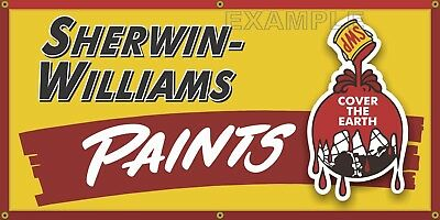 Sherwin Williams Paints Hardware Store Vintage Old Sign Remake Banner Art 2X4