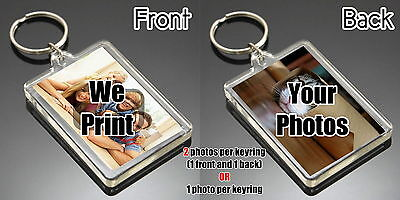 Personalised Photo Keyring Custom Gift - Large size 50mm x 35mm 2 sided Acrylic