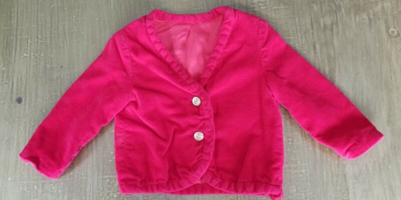 Vintage 1960s Blazer Jacket Button Front Red Velour Girls Size 3T-4T