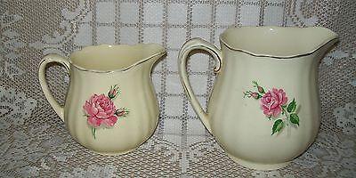 2 x VINTAGE J & G MEAKIN 'SUNSHINE' JUGS pink rose design (lge 13cm/med 10.5cm)