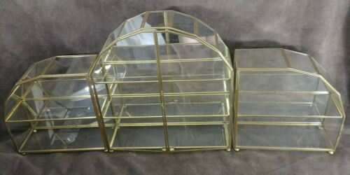 Vtg Franklin Mint RARE 3-PIECE BUTTERFLY COLLECTION Brass & Glass Mirror DISPLAY