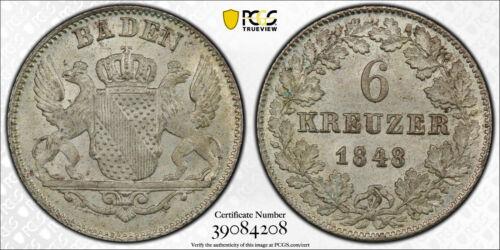 1848 German States BADEN 6 Kreuzer KM# 210 PCGS MS-65 GEM BU!!!