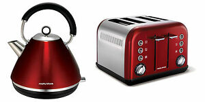 Morphy Richards Accents Kettle And Toaster Set In Red S/Steel 102004 / 242004