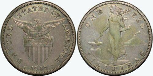 1907-S US/Philippines Peso ~ VF/XF Details ~ 80% Silver ~ Allen#17.01 ~ MX297