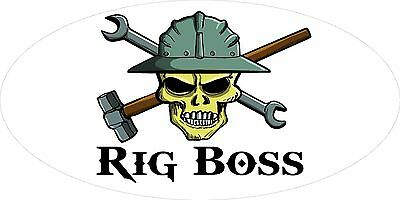 3 - Rig Boss Skull Oilfield Roughneck Hard Hat Helmet Sticker H305