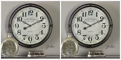 TWO LARGE 30 INDUSTRIAL VINTAGE IRON LONDON STYLE WALL CLOCK AGED FACE QUARTZ