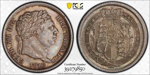 ENGLAND GEORGE III 1816 1 SHILLING SILVER COIN, UNCIRCULATED CERTIFIED PCGS MS64