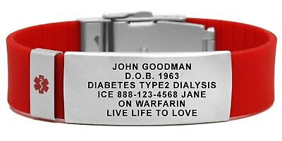 Medical Medical Id Bracelet - Medical ID Bracelet with Medical Alert Symbol. Free Engraving & Medical Id Card