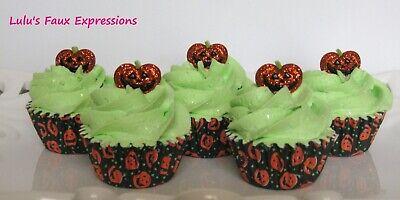 Faux MINI CUPCAKES Fake Food HALLOWEEN GLITTER PUMPKINS (5) - Mini Halloween Pumpkin Cupcakes