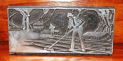 Original Farm Workers Print Block Printers Wood Block