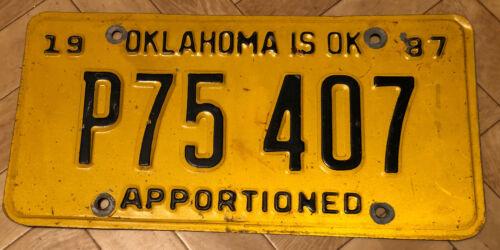 USA Nummernschild Kennzeichen USA Oklahoma Licence Plate P75 407 Von 1987