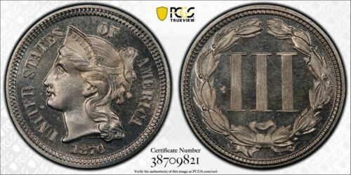 1970 3 Cent Nickel PCGS PR66CAM CAC Only 2 Graded Higher