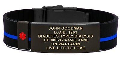 Medical Medical Id Bracelet - Medical ID Bracelet with Medical Alert Symbol. Free Engraving & Medical Id Card