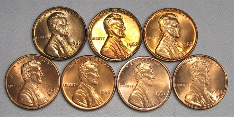 Mixed Lot of 7 Wheat Pennies & Lincoln Cent Coins Uncirculated AG86