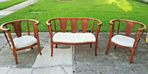 Antique Burlwood Biedermeier Settee Matched Pair of Armchairs mid 19th Century