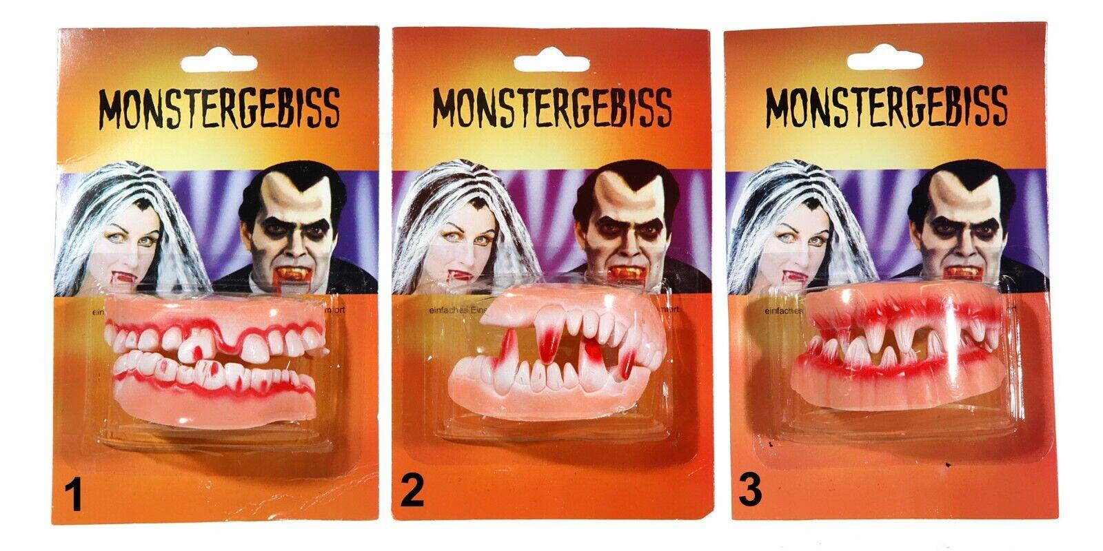 Halloween Zombie Monster Gebiss Horror Grusel Faule Schiefe Zähne Monstergebiss