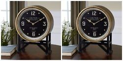 TWO SHYAM VINTAGE URBAN INDUSTRIAL METAL & BRASS BLACK FACE TABLE DESK CLOCK