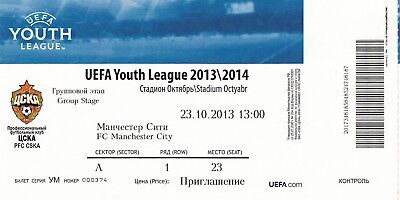 Ticket - CSKA Moscow Youth v Manchester City Youth 23.10.13 UEFA Youth League