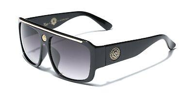 Kleo Flat Top Hip Hop Rapper Retro Aviator Sunglasses Black