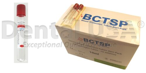 PRF TUBES -RED (A-PRF MEMBRANES AND PLUGS). GLASS 10 ML. NO ADDITIVE. 100 TUBES