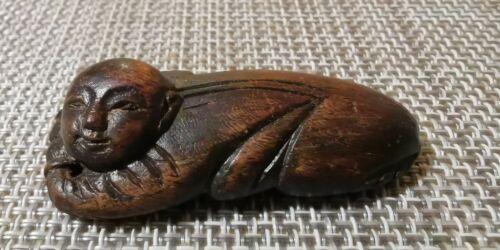 清 沉香雕件挂坠卧禅Qing Antique carved rest buddha agarwood Chinese culture vintage Art