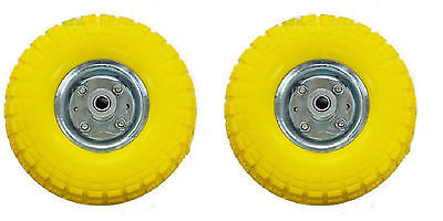 2 x Heavy Duty Yellow Puncture Proof Sack Truck Wheels / Go cart / RM002 / Tyres