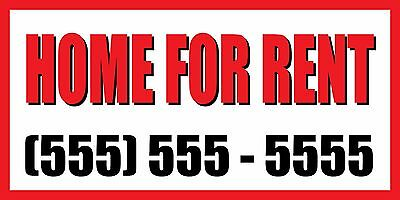 3x6 Home For Rent Custom Number Sign Vinyl Banner House Condo Apartment