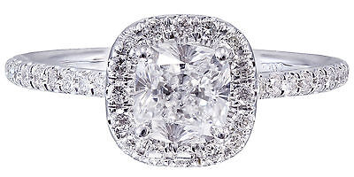 GIA H-SI1 14k White Gold Cushion Cut Diamond Engagement Ring Halo Deco 1.20ctw 11