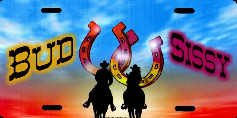 Personalized Custom Cowboy Cowgirl Silhouette Horseshoe Names License Plate NEW