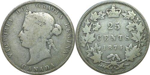1874 H Canada 25 Cents Silver Victoria KM# 5 Very Good