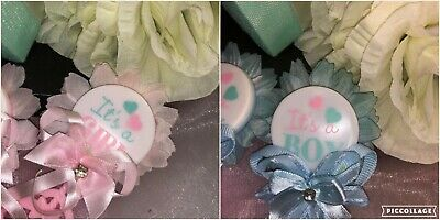 Baby Shower Pin Favors (Charmed Pin-Back Rattle Baby Shower Favors for Boy/Girl; 1.5