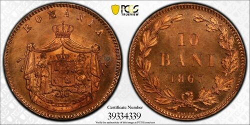PCGS SP-66 RED (!) SPECIMEN PROOF ROMANIA 10 BANI 1867 -H (TOP GRADE IN RED!)