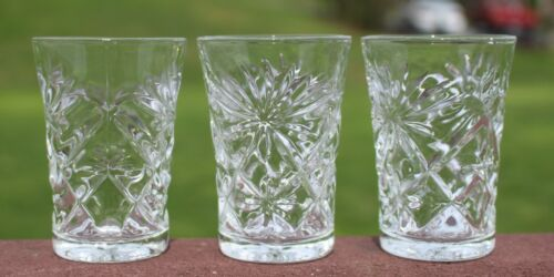 "3 Anchor Hocking EAPC Juice Glasses 3-1/2"" Prescut Clear Glass Star of David"