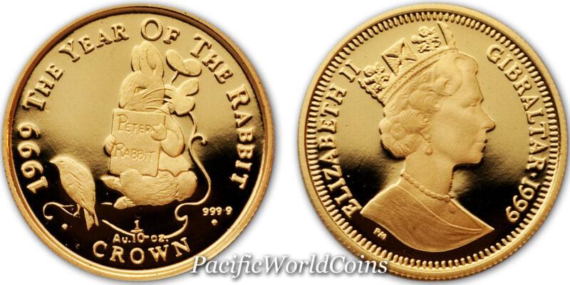 Gibraltar 1999 Peter Rabbit 1/10 oz Proof Gold