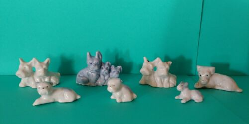 Mix Lot Miniature Dog Figurine 7 Porcelain
