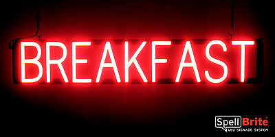 SpellBrite Ultra-Bright BREAKFAST Sign Neon-LED Sign (Neon look, LED power) ()