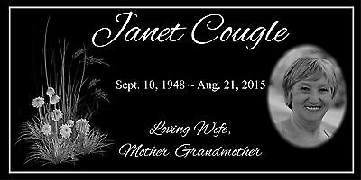 """Personalized human Stone Memorial Plaque 6"""" x 12""""  Headstone Flower marker"""