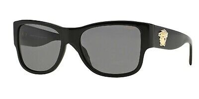 POLARIZED NEW Genuine VERSACE Medusa Black Grey Sunglasses VE 4275 GB181 58 mm