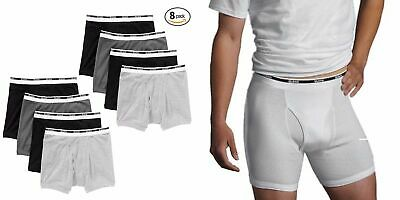 Gildan Men's Boxer Briefs Premium Cotton Underwear 8-Pack Wh