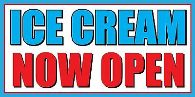 2x4 Ice Cream Now Open Vinyl Banner Sign - Blue