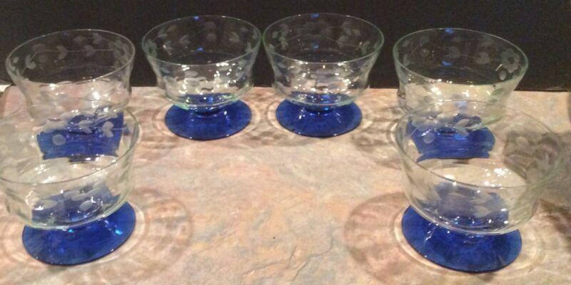 6  Vintage Etched Clear Glass w/ Cobalt Blue Base Dessert / Sherbet /Berry Glass