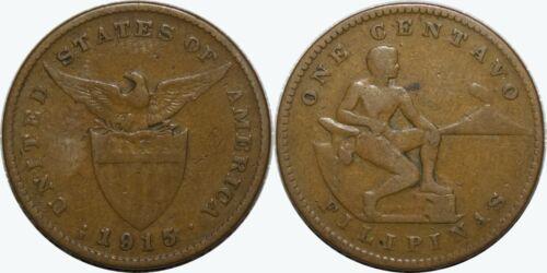 1915-S US/Philippines 1 Centavo ~ VG ~ KEY DATE ~ Allen#2.13 ~ MX237