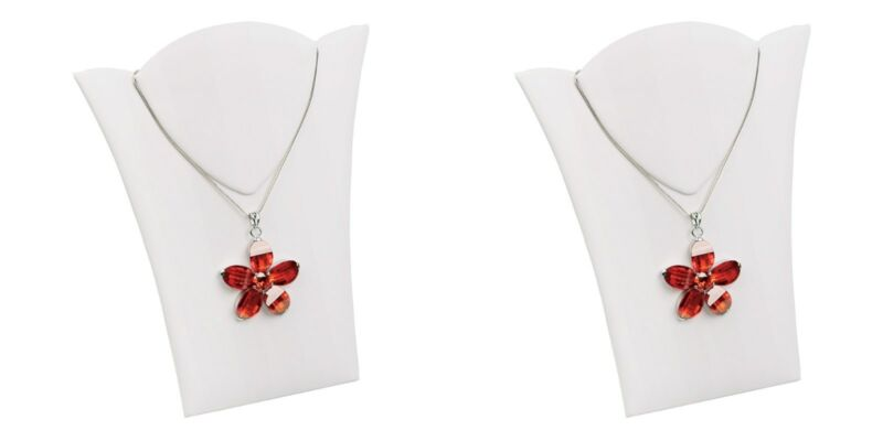 """2 White Cardboard Necklace Lay Flat Easel Portable Displays 6 1/2""""W  x 7 7/8""""H"""