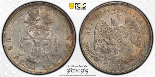 MEXICO - MEXICO CITY MINT  1871-MoM 1 PESO SILVER COIN, PCGS CERTIFIED AU-58
