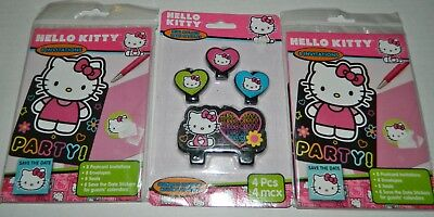 Hello Kitty Birthday Party Invitations - HELLO KITTY Birthday Party INVITATIONS Lot of 2 Packages MOLDED CAKE CANDLE 4-pc