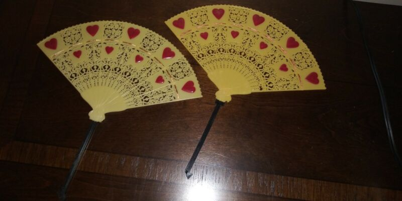 Vintage Plastic Valentine Fans Lot of 2 Red Hearts & Ribbon Hong Kong