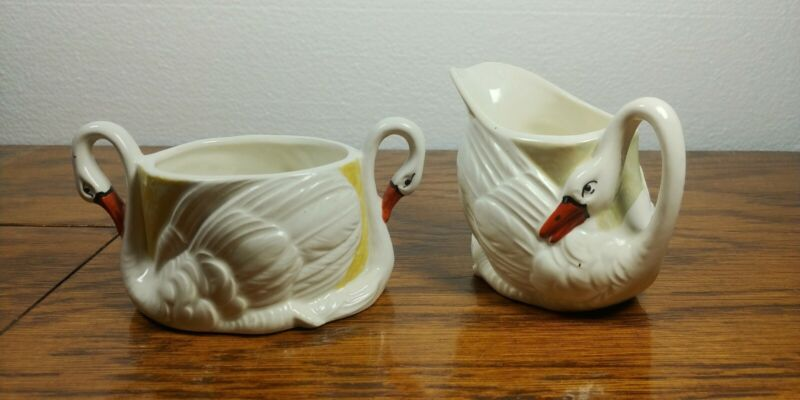 Vintage Swan Lusterware Creamer And Sugar Bowl Marked Made In Czechoslovakia
