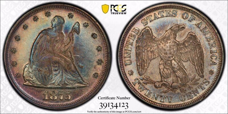 1875-P Twenty Cent Piece 20C Certified PCGS AU Details Rare Date Colorful Toning
